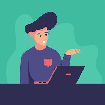 Ilustração de homem com laptop para explicador de site