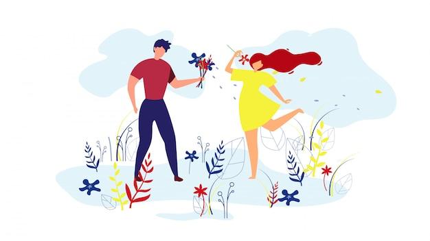 Ilustração de homem dando flores para menina