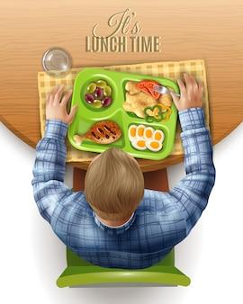 Ilustração de homem de almoço em caixa