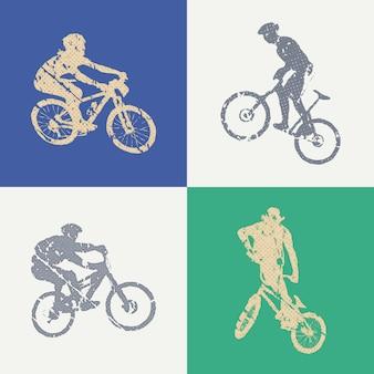 Ilustração de homem de bicicleta e motociclistas. imagem criativa e esportiva