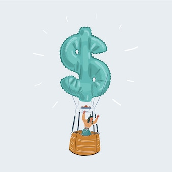 Ilustração de homem de negócios feliz em balão de ar quente com o ícone de dinheiro em fundo branco.