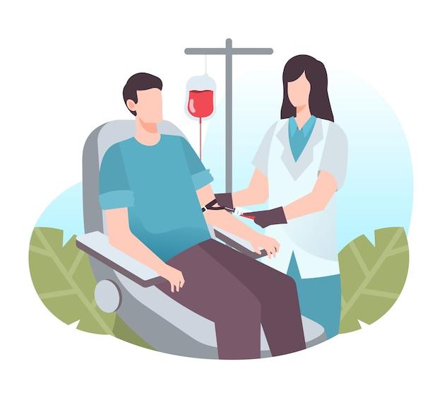 Ilustração de homem doando sangue