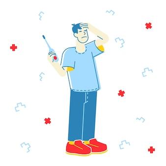 Ilustração de homem doente com febre