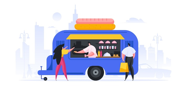 Ilustração de homem e mulher modernos comprando cachorro-quente