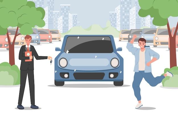 Ilustração de homem feliz comprando um carro