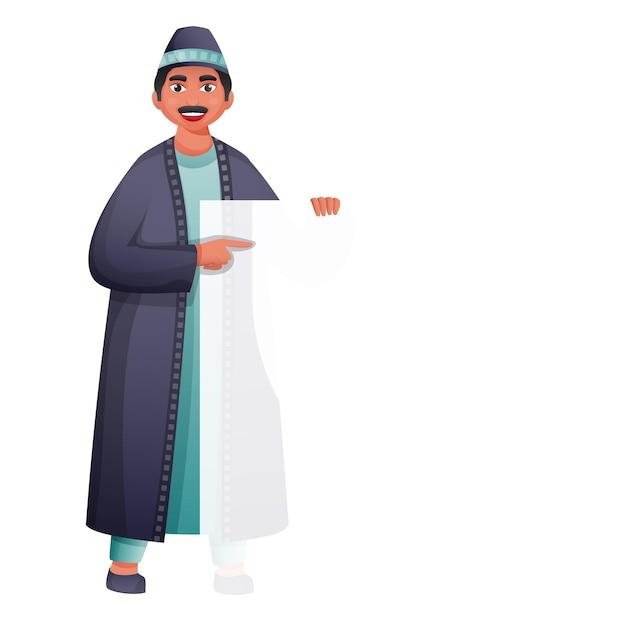 Ilustração de homem muçulmano segurando um papel em branco ou um cartão no fundo branco.