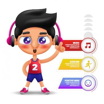 Ilustração de homem ouvindo música com infográfico