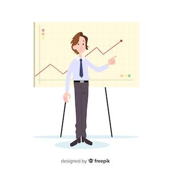 Ilustração, de, homem, trabalhando, em, escritório