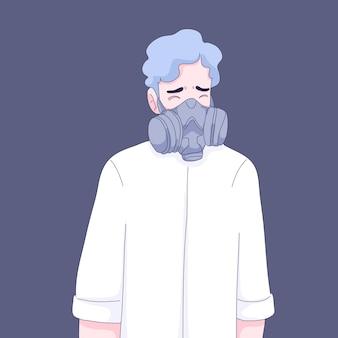 Ilustração de homem usando máscara de gás