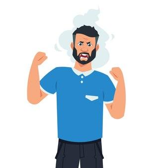Ilustração de homem zangado dos desenhos animados