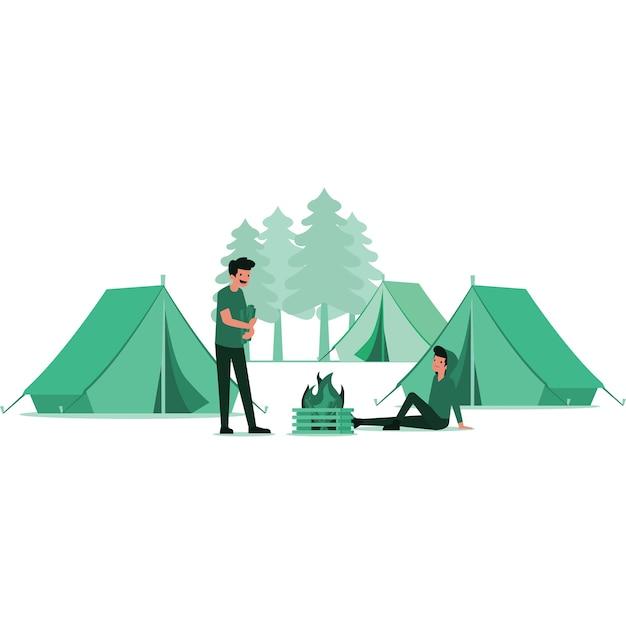 Ilustração de homens acampando na floresta