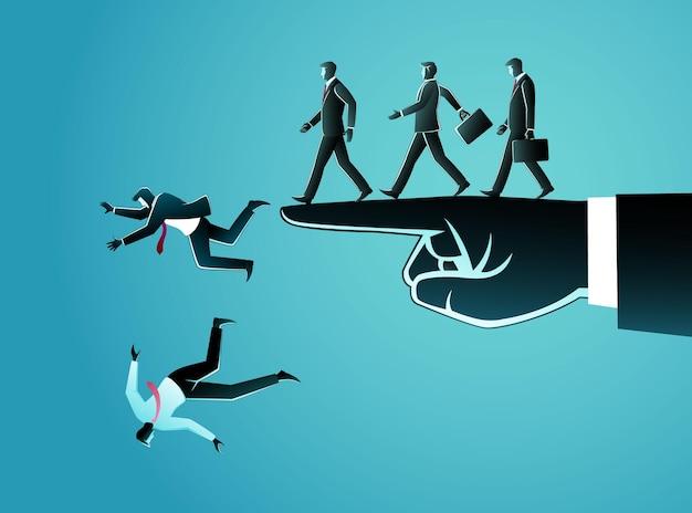 Ilustração de homens de negócios andando em uma fileira ao longo do braço apontando, então eles caem
