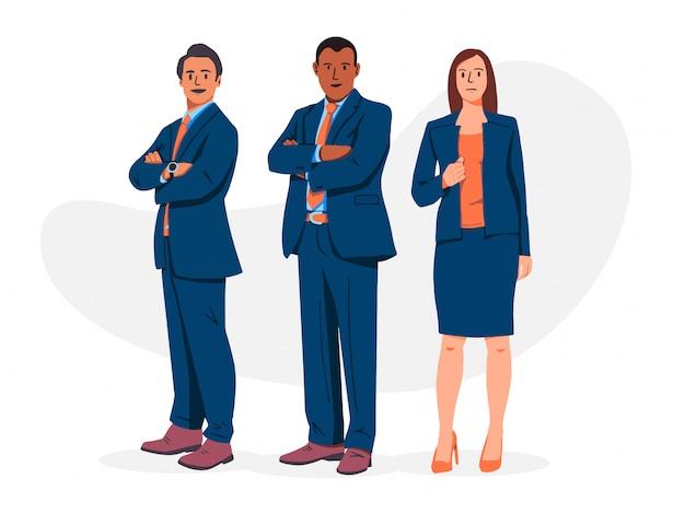 Ilustração de homens e mulheres profissionais