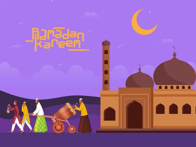 Ilustração de homens muçulmanos tocando tabuh bedug (tambor) com lua crescente e mesquita