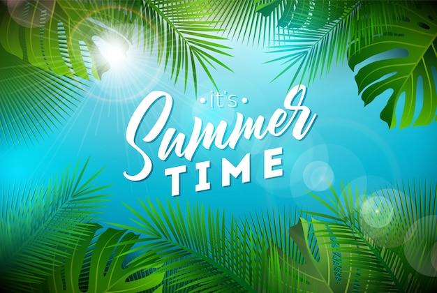 Ilustração de horário de verão com folhas de palmeira exóticas