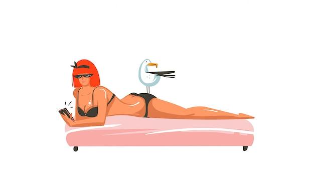 Ilustração de horário de verão com garota relaxando em uma cena de praia isolada no fundo branco
