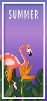 Ilustração de horário tropical e verão com flamingo
