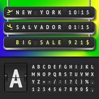 Ilustração de horários realistas do aeroporto e alfabeto do placar