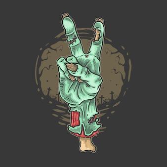 Ilustração de horror de mão de paz de zumbi