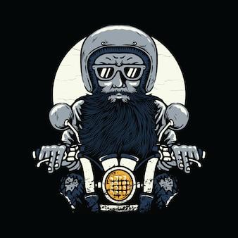 Ilustração de horror de motociclista
