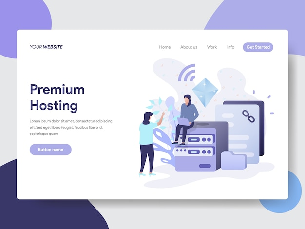 Ilustração de hospedagem premium para páginas da web