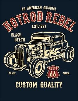 Ilustração de hot rod rebel em estilo vintage
