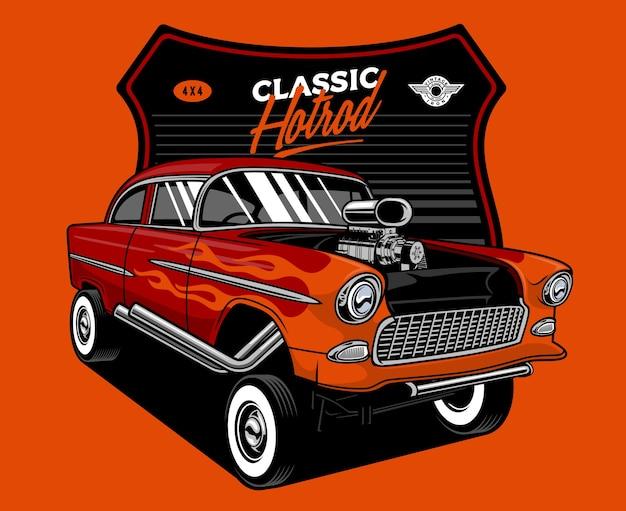 Ilustração de hotrod de carro velho flamejante
