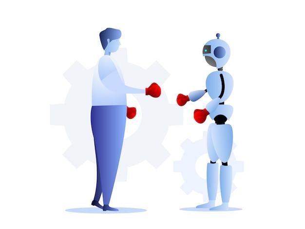 Ilustração, de, human, vs, robôs, negócio, desafio, conceito
