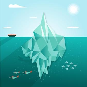 Ilustração de iceberg com navio e peixe