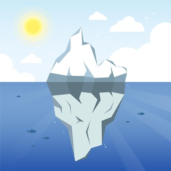 Ilustração de iceberg com sol e nuvens