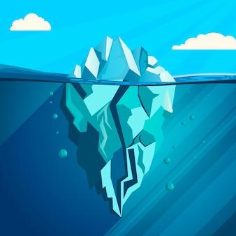 Ilustração de iceberg de design plano com nuvens