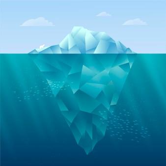 Ilustração de iceberg de design plano