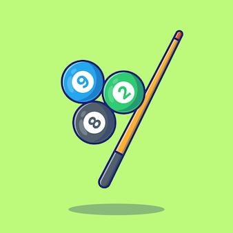 Ilustração de ícone de bilhar. conceito de ícone de piscina de bilhar esporte isolado. estilo cartoon plana