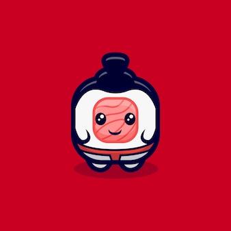 Ilustração de ícone de desenho animado bonito sushi roll transformado em sumô