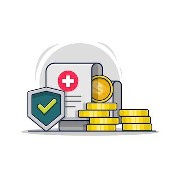 Ilustração de ícone de documento de saúde com escudo e moedas de ouro seguro de proteção de saúde