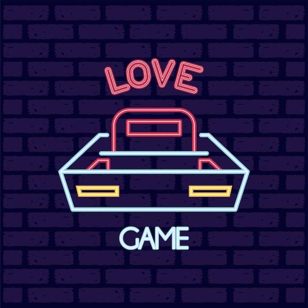 Ilustração de ícone de estilo neon de console de videogame
