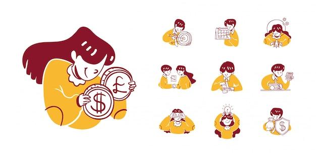 Ilustração de ícone de negócios e finanças no estilo de design desenhado de mão de contorno. homem, mulher, negócio, alvo, dólar, cronograma, imposto, corte, contabilidade, binóculos, ideia, dinheiro, proteção, escudo, comércio,