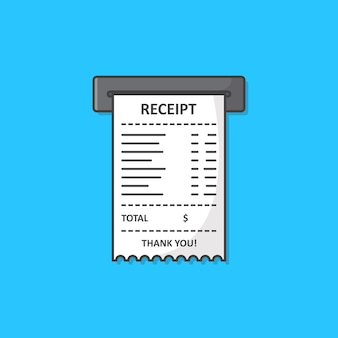 Ilustração de ícone de recibo impresso de vendas. ícone plano de recibo de papel