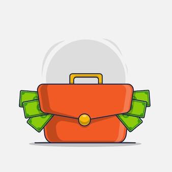 Ilustração de ícone de saco de dinheiro e dinheiro