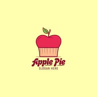 Ilustração de ícone de torta de maçã logotipo de frutas