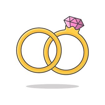 Ilustração de ícone de vetor de anel de diamante de casamento. ícone plano de par de alianças de ouro