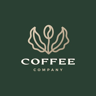 Ilustração de ícone de vetor de broto de folha de árvore em grão de café