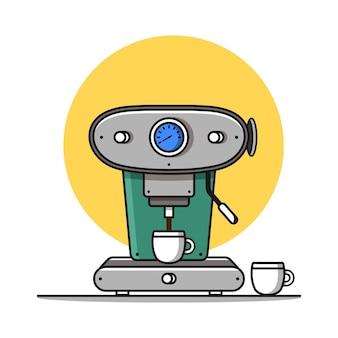 Ilustração de ícone de vetor de cápsula e xícara de máquina de café vetor de ícone de máquina de café