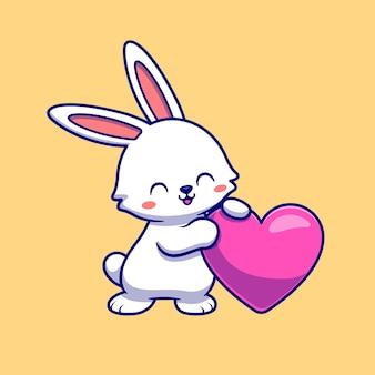 Ilustração de ícone de vetor de coelho fofo com coração de amor