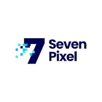 Ilustração de ícone de vetor de logotipo de 8 bits digital com 7 sete números de pixel