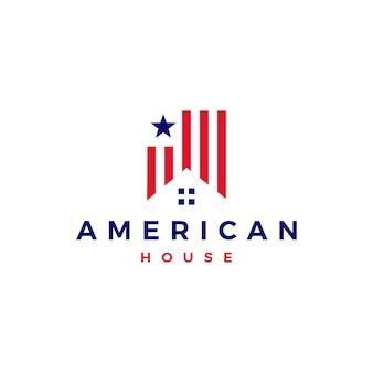 Ilustração de ícone de vetor de logotipo de casa americana casa