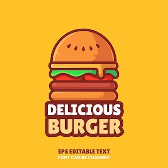 Ilustração de ícone de vetor de logotipo de hambúrguer delicioso em estilo simples. logotipo de fast food isolado premium