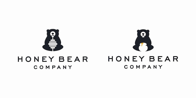 Ilustração de ícone de vetor de logotipo de urso de mel
