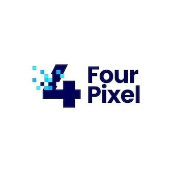 Ilustração de ícone de vetor de logotipo digital de 8 bits 4 marca de pixel de quatro números