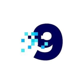 Ilustração de ícone de vetor de logotipo digital de 8 bits com marca de 9 nove pixels